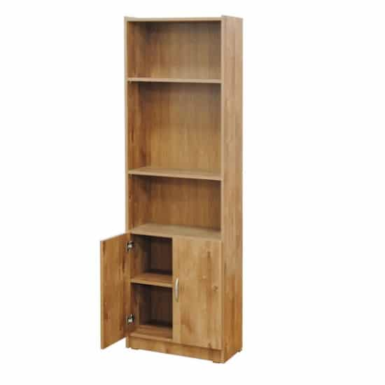 ספריה 5 מדפים+2 דלתות דגם 612 רהיטי יראון - צבע שיטה
