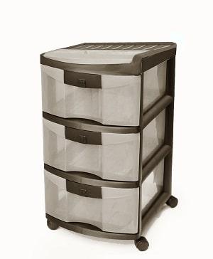 מגירות פלסטיק 3 קומות כתר חום WOD