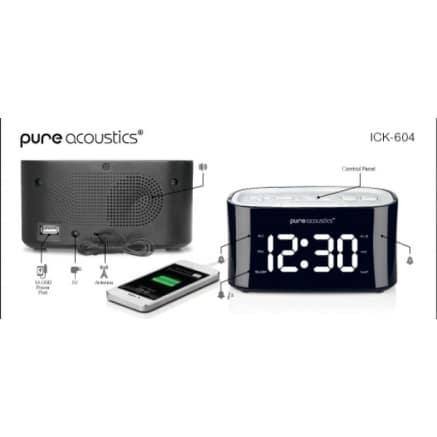 שעון מעורר+USB טעינה לסמארטפון לבן ICK-6