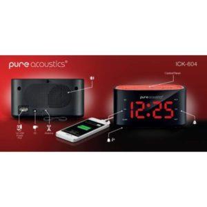שעון מעורר+USB טעינה לסמארטפון אדום ICK-