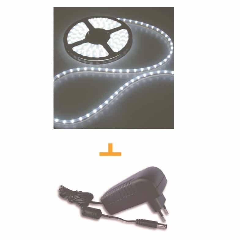 פס לדים + שנאי 5 מטר 60 LED לבן