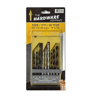 סט 9 מקדחים עץ/וידיה/מתכת HARDWARE