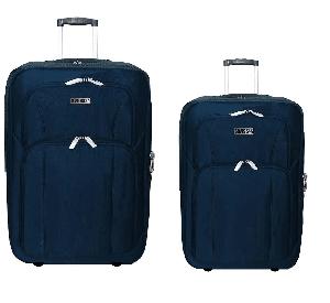 """סט 2 מזוודות מבד 24""""+28"""" כחול"""