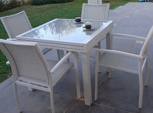 סט גינה דגם בונדי שולחן נפתח עד 144+ 4 כסאות לבן