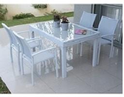 סט גינה דגם בונדי שולחן עד 1.8+ 4 כסאות לבן