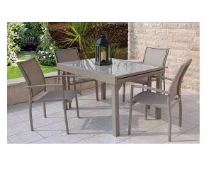 סט גינה דגם בונדי שולחן נפתח עד 280 + 4 כסאות קפוצי'נו