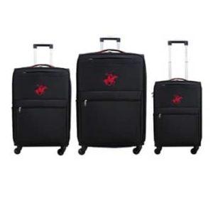 שלישיית מזוודות Beverly hills polo - שחור/אדום