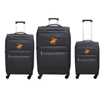 שלישיית מזוודות Beverly hills polo - אפור/כתום