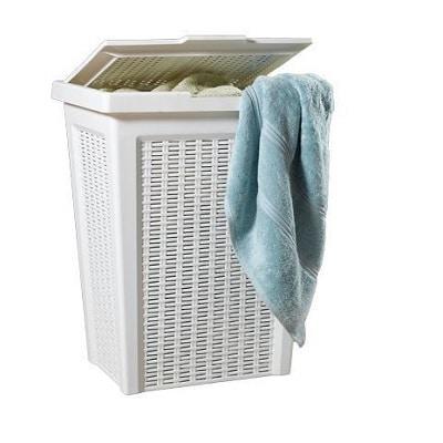 סל כביסה במראה ראטן 50 ליטר לבן