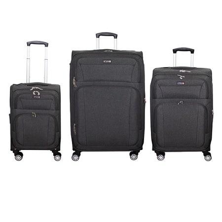 שלישיית מזוודות בד 20+24+28 SWISS שחור