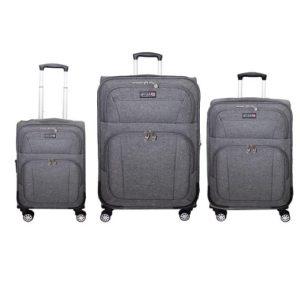 שלישיית מזוודות בד 20+24+28 SWISS אפור