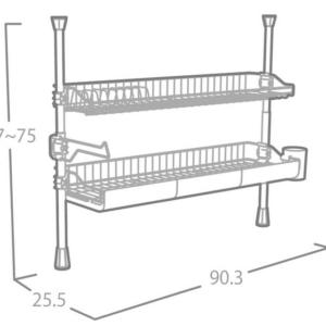 מתקן מתכוונן דו-קומתי רחב לייבוש כלים מבית OLIVIER