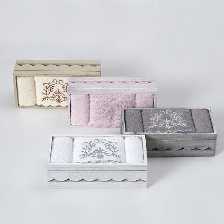 סט חמש מגבות ידיים רקומות 50×30 בקופסא מביתHOMESTYLE