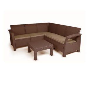 מערכת ישיבה פינתית בהאמס צבע חום - כתר
