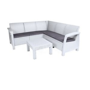 מערכת ישיבה פינתית בהאמס צבע לבן - כתר