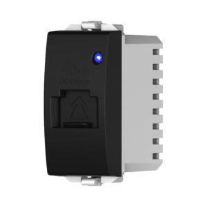 מטען 5V 1A USB מואר לד כחול 1 מודול שחור ניסקו סוויץ'