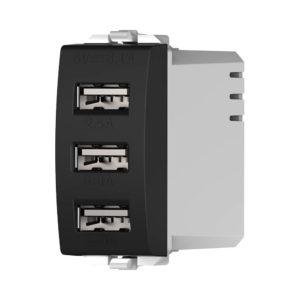 מטען USB כולל 3 יציאות 5V 3.1A שחור ניסקו סוויץ'