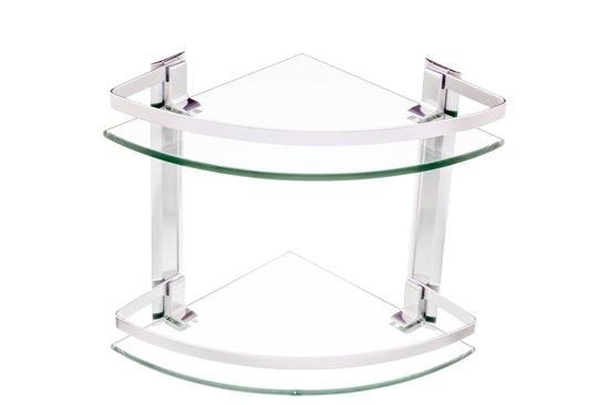 מדף זכוכית פינתי 2 קומות popolare