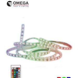 סרט לד 5050 5מטר 60לד/מטר RGB+שלט OMEGA 14.4W