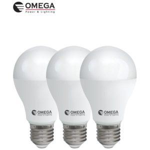 לד 15W  A60 לבן אור יום מארז שלישיה OMEGA E27