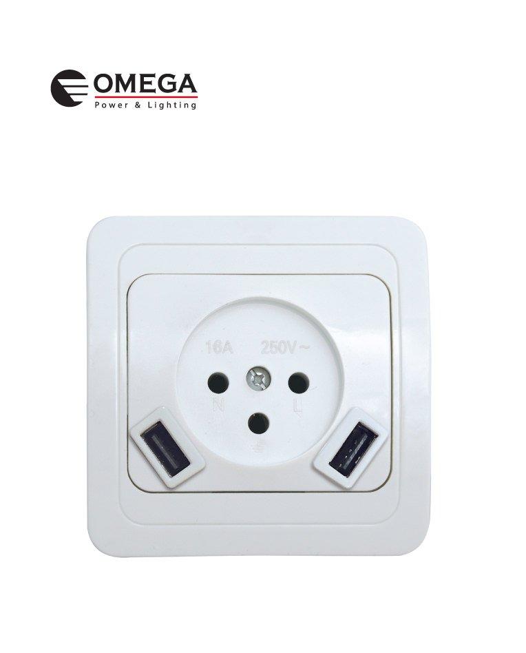 שקע כוח חשמלי 16A עם מטען USB2 - לבן 10 יח' בליס