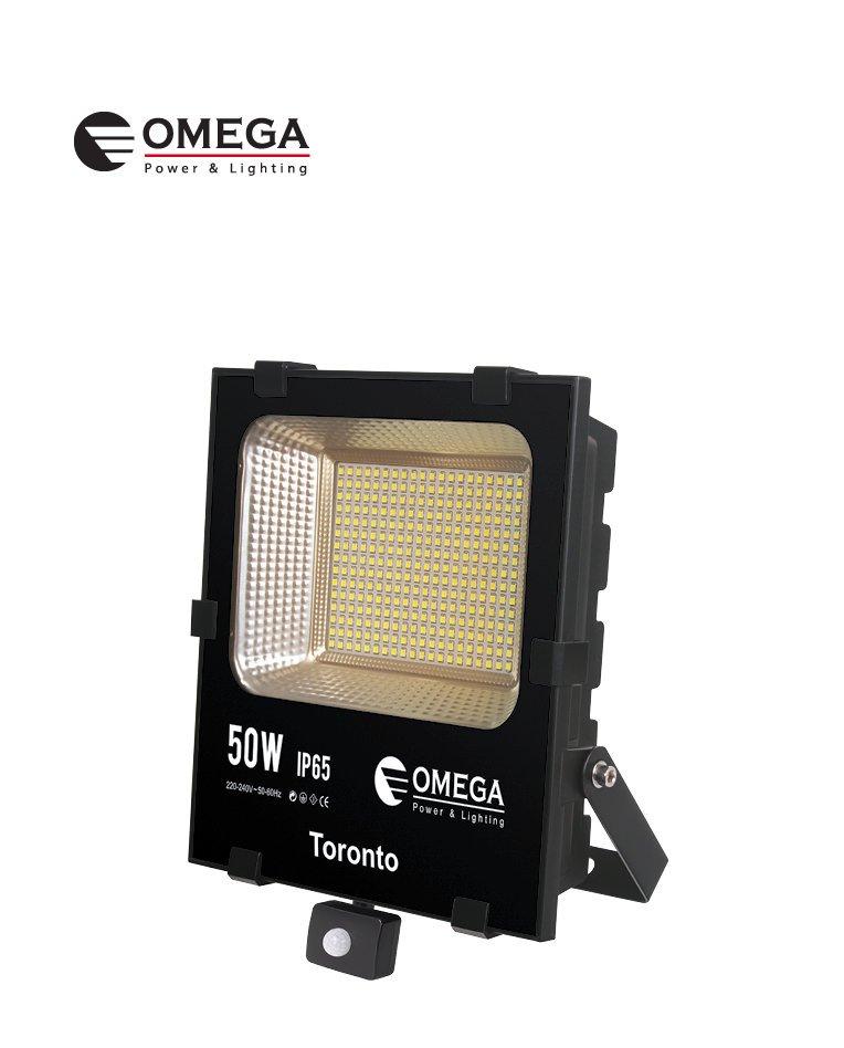 זרקור פלזמה SMD לד,50 וואט עם חיישן, גוון לבן חם