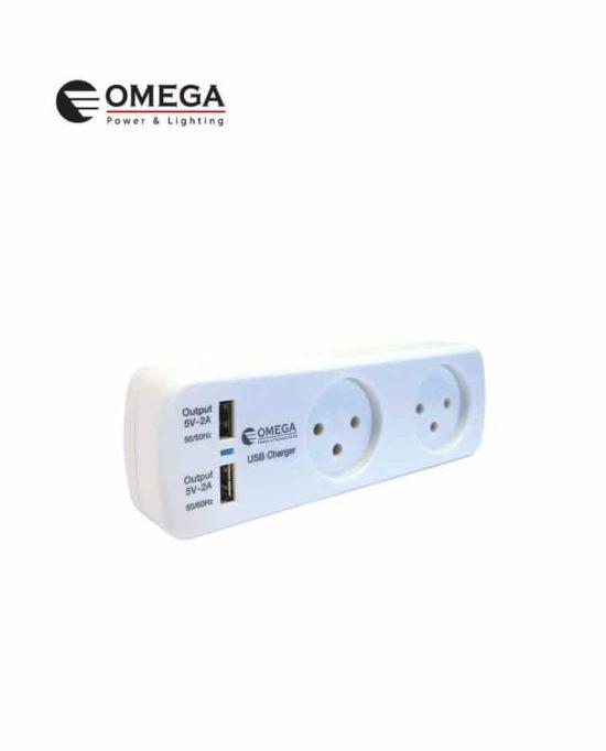 מפצל T2 + שניים USB זרם טעינה OMEGA 2A