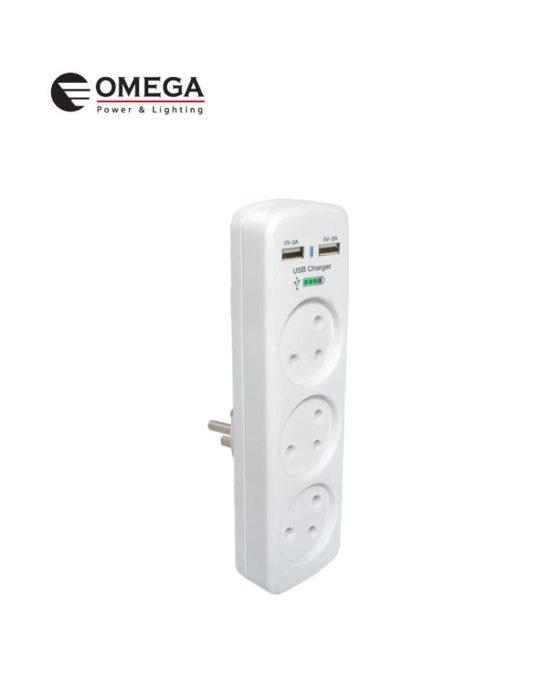 מפצל 3 T אנכי + שניים USB זרם טעינה 2A OMEGA