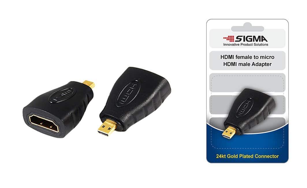 מתאם HDMI  נקבה ל מיקרו מצופה זהב SIGMA בבליסטר
