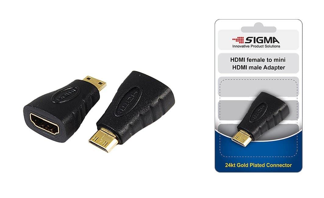 מתאם HDMI  נקבה ל מיני מצופה זהב SIGMA בבליסטר