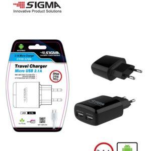 שנאי 2.1 אמפר 2 יציאות USB+ כבל  micro +  אריזת