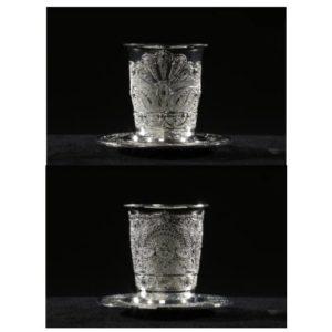 כוס קידוש מוכספת מצופה לקה במגוון דוגמאות