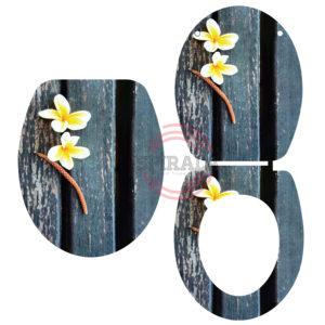 מושב אסלה טריקה שקטה בדוגמת פרח צהוב
