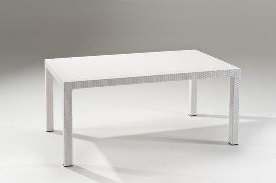"""שולחן 1.60 מטר דמוי ראטן לבן """"מלודי"""""""