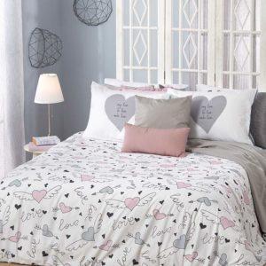סט מצעים מודפס 100% פוליאסטר (מיקרופייבר) מסדרת קוקטייל - דגם דוני סט מיטה וחצי 120x200