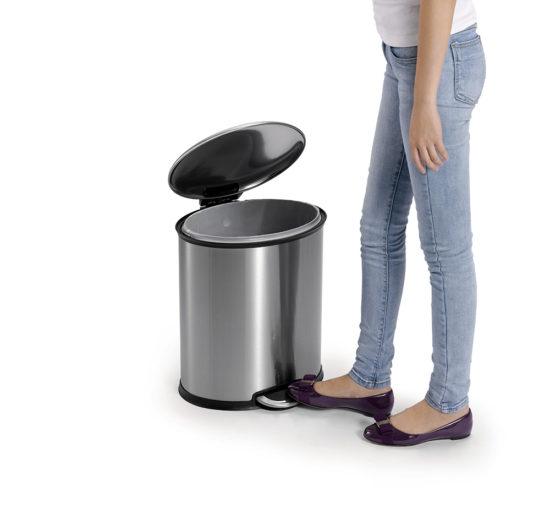 פח אשפה אליפס לשירותים 6 ליטר נירוסטה מט EKO