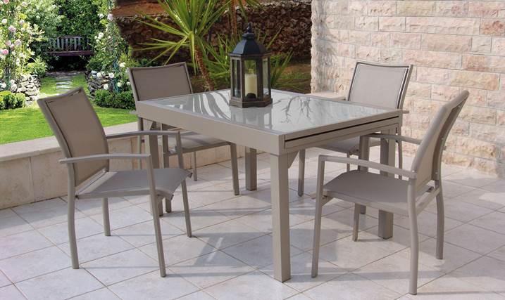 סט גינה בונדי שולחן +4 כסאות בצבע קפוצ'ינו