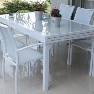 סט גינה בונדי שולחן + 4 כיסאות בצבע לבן שנהב