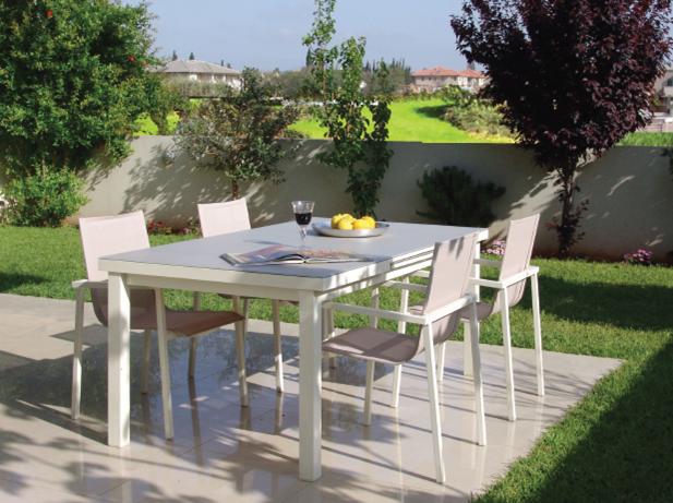 סט ריהוט גינה לאונרדו שולחן + 4 כיסאות