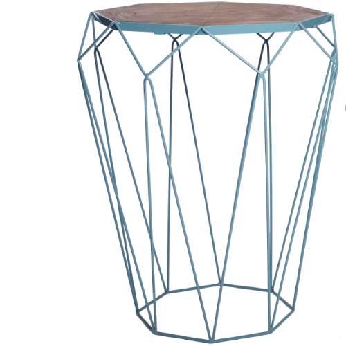 שולחן צד יהלום גדול בצבע תכלת
