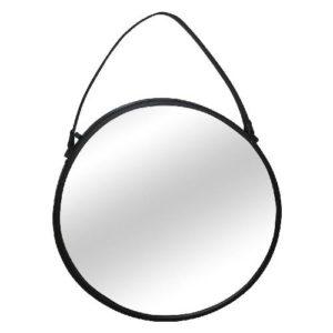 מראה עם מסגרת רצועת עור שחורה קוטר 55