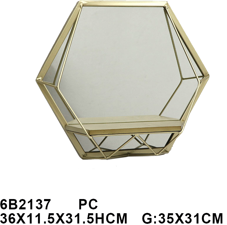 מראה משושה עם מדף מתכת 6B2137VA