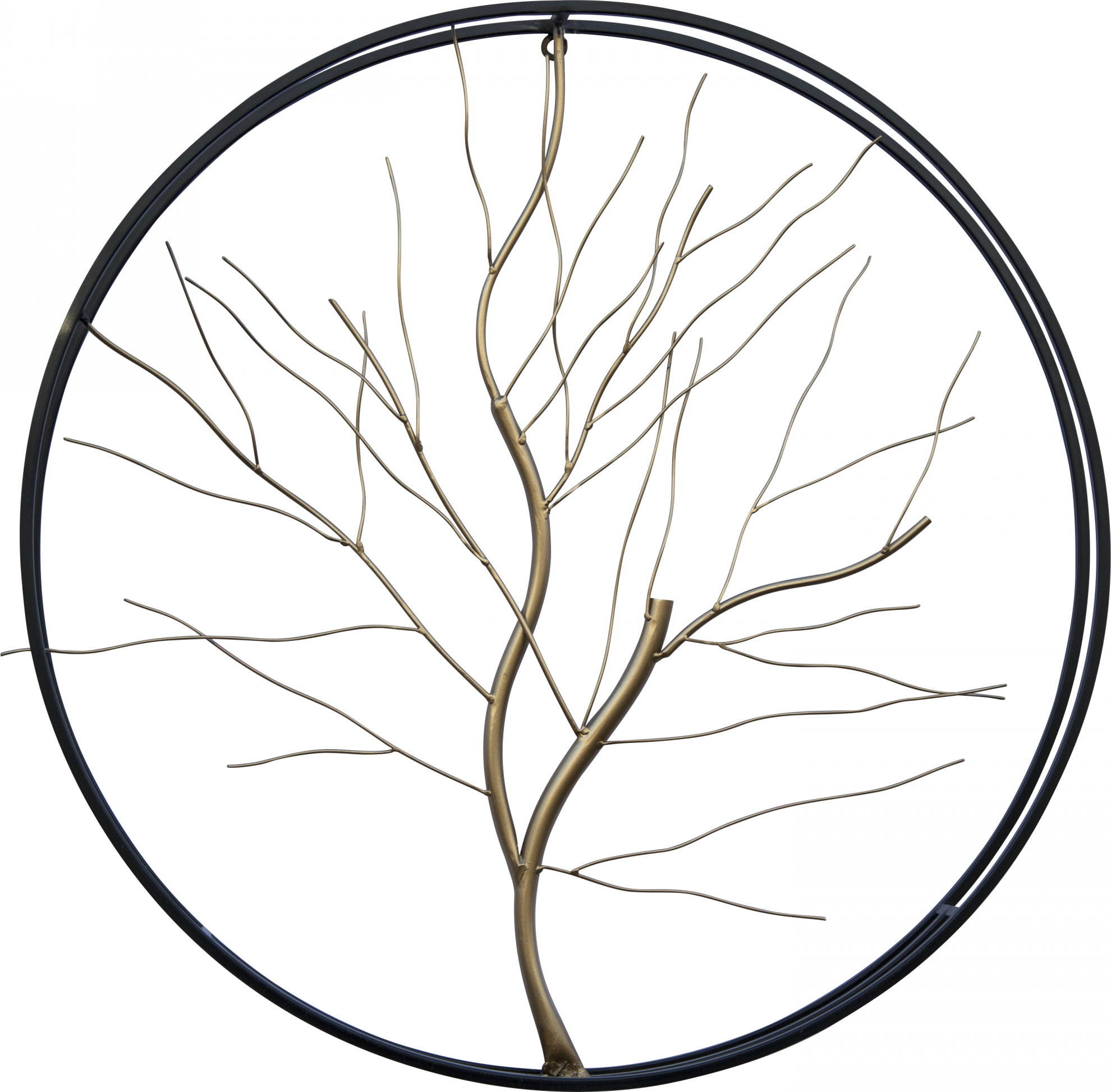 קישוט קיר ענף מוזהב עגול