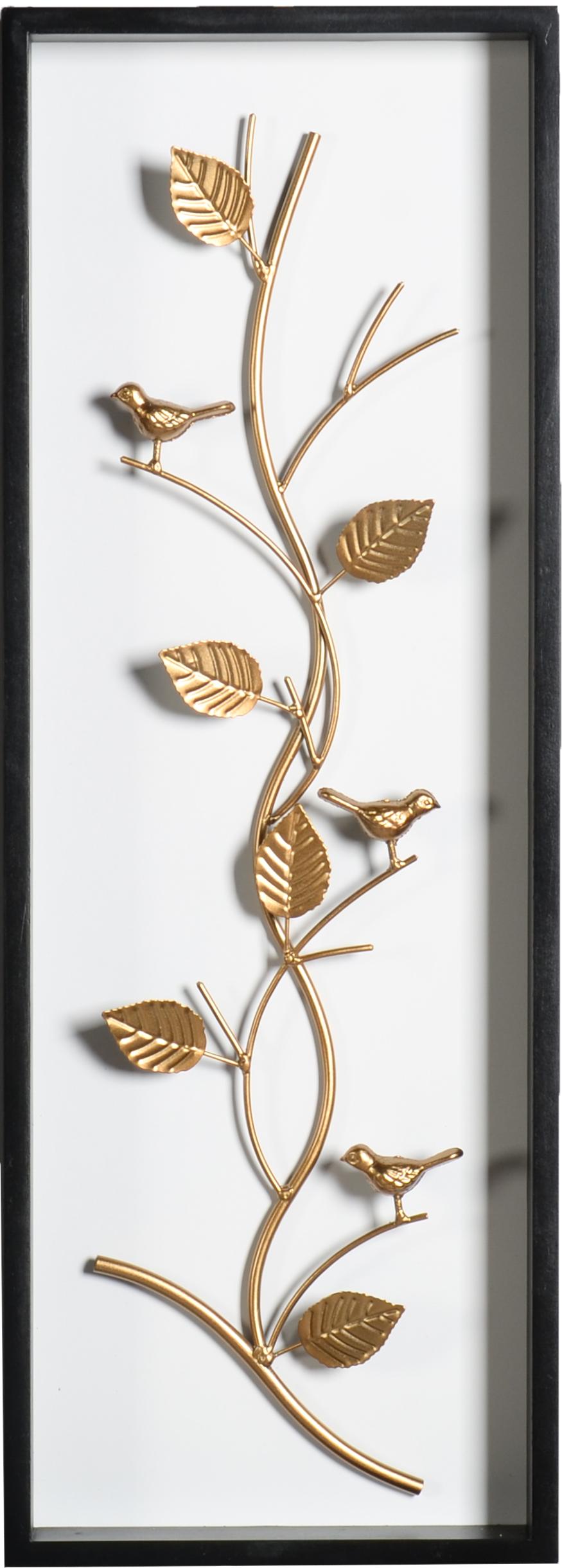 קישוט קיר בדוגמת ענף ציפורים מוזהב