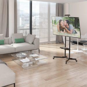 מתקן תליה נייד לטלוויזיה עם 2 מדפים SW452 זרועות ברקן