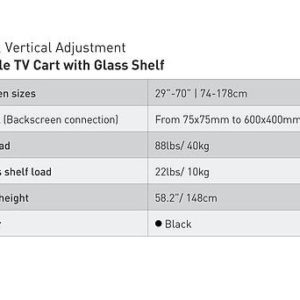 עגלה עם מדף זכוכית וזרוע ברקן קבועה למסכי טלוויזיה שטוחים/ קעורים