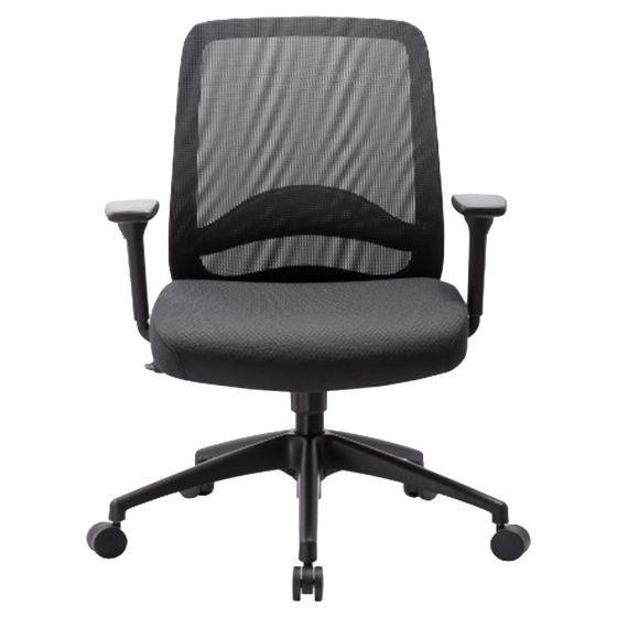 כסא עובד אורטופדי מרופד בד-רשת שחור
