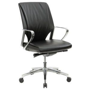 כסא אורחים דמוי עור שחור בעיצוב מפואר ויוקרתי