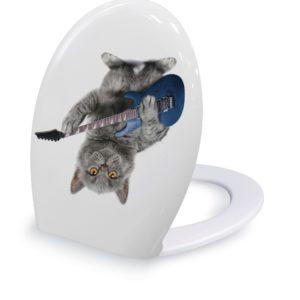 מושב אסלה הידראולי שליפה מהירה בהדפס חתול