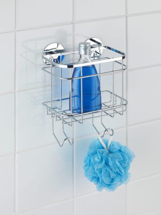 מתלה לבקבוקי שמפו וסבון  כולל 2 ווים בהדבקה מיוחדת אל חלד